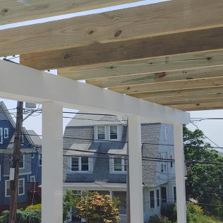 Deck with Pergola During
